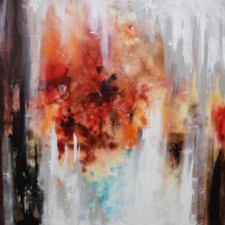 Cuadro abstracto del artista KONRAD. Pintura en acrílico en 150x150cm