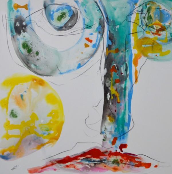 Obra abstracta de E.PONT. Pintura en acrilico en 125x125cm
