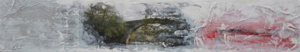 Obra abstracta de E.PONT. Pintura en acrilico en 148x33cm