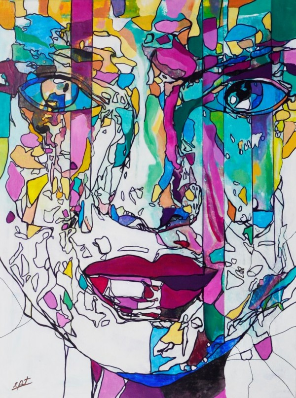 Obra abstracta de E.PONT. Pintura en acrilico en 97x130cm y 100x150cm.