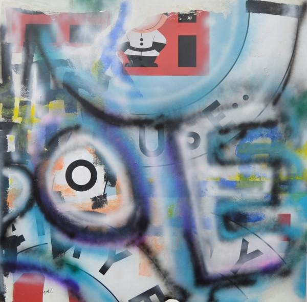 Obra abstracta de E.PONT. Pintura en acrilico en 150x150cm