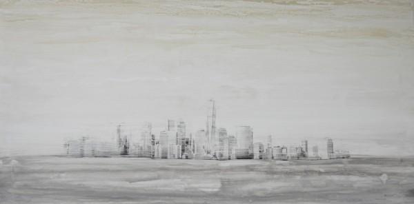 Obra abstracta de BAENA. Pintura en acrilico en 160x80cm