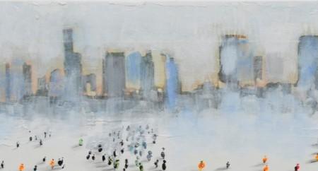 Cuadro figurativo del artista PENADES. Pintura en acrílico en 140x25cm. Pintura arte