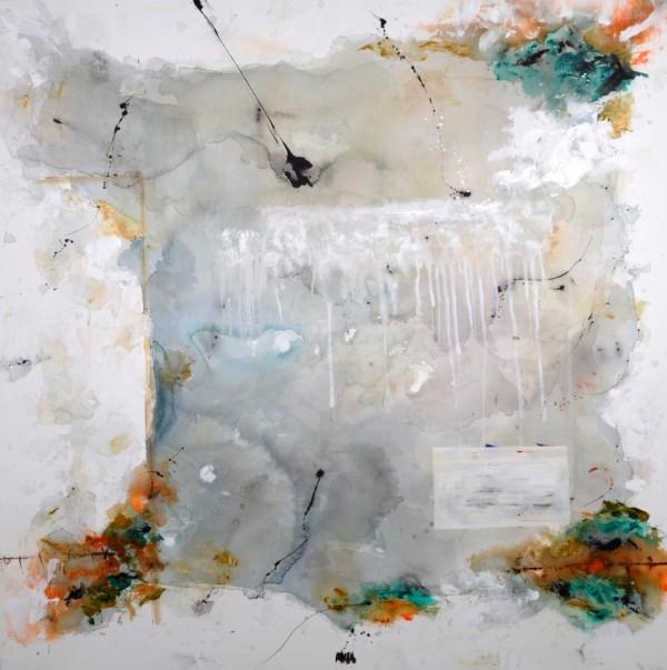 Cuadro abstracto del artista MARZAL. Pintura en acrílico en 150x150cm