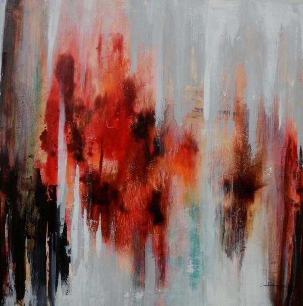 Cuadro abstracto del artista RAUL. Pintura en acrílico en 125x125cm