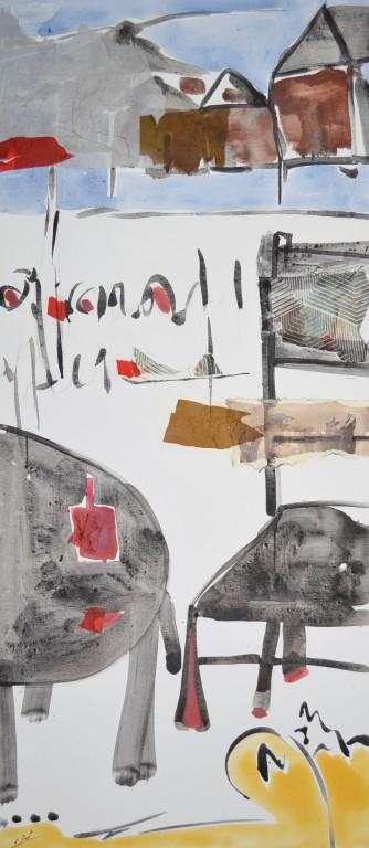 Cuadro figurativo del artista E.PONT. Pintura en acrilico en 80x180cm y 80x160cm. Pintura arte