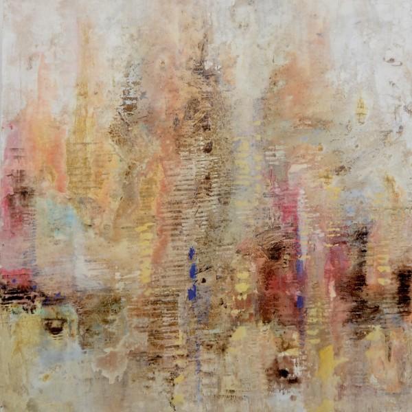 Cuadro abstracto del artista MEDINA. Pintura en acrílico en 125x125cm