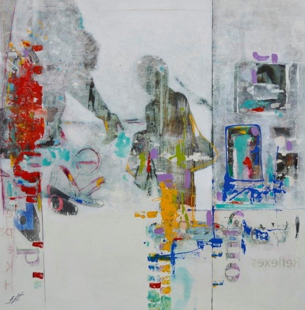 Cuadro abstracto del artista E.PONT. Pintura en acrilico en 125X125cm