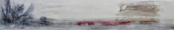 Cuadro enmarcado del artista E.PONT. Pintura en acrilico en 148x33cm. Pintura arte