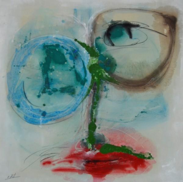 Cuadro figurativo del artista E.PONT. Pintura en acrilico en 100x100cm