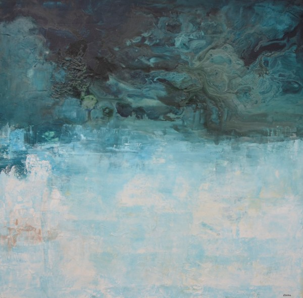 Cuadro abstracto de la artista EMMA. Pintura en acrilico en 125x125cm