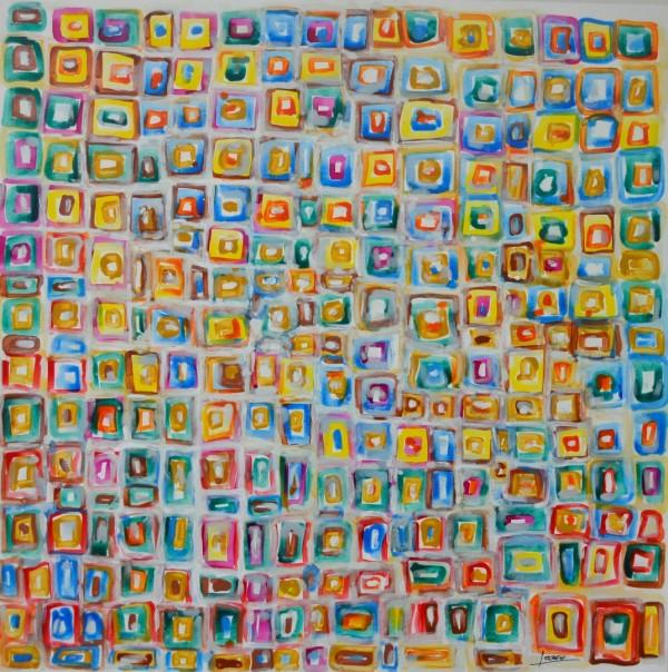 Cuadro abstracto del artista FERRERO. Pintura en acrílico en 125x125cm