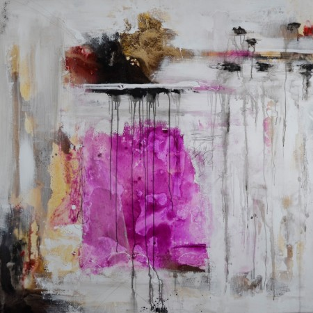 Cuadro abstracto del artista MARZAL. Pintura en acrílico en 125x125cm