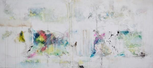 Cuadro abstracto del artista MARZAL. Pintura en acrílico en 180x80cm